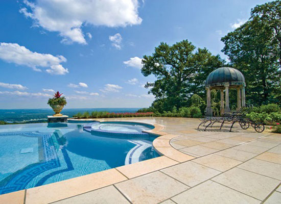limestone pool deck
