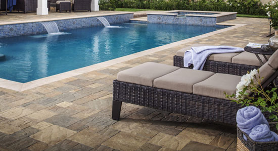 Travertine stone decking
