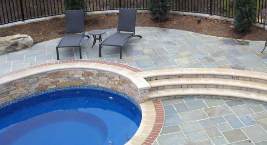 flagstone pool area